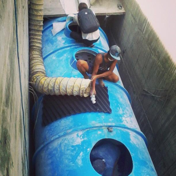 Der berühmte Abwassertank von Uluwatu.