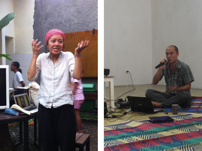 Künstlergespräche mit der taiwanesischen Tänzerin Delfine Mae (links) und Cemeti Artist-in-Resident Jae Hoon Lee (NZ/Korea)