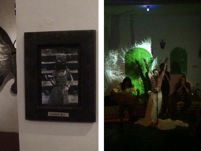 """Performance der experimentellen Band Senyawa auf der Ausstellungseröffnung """"Psychonautics"""" des Künstlers Cahyo Basuki Yopi"""