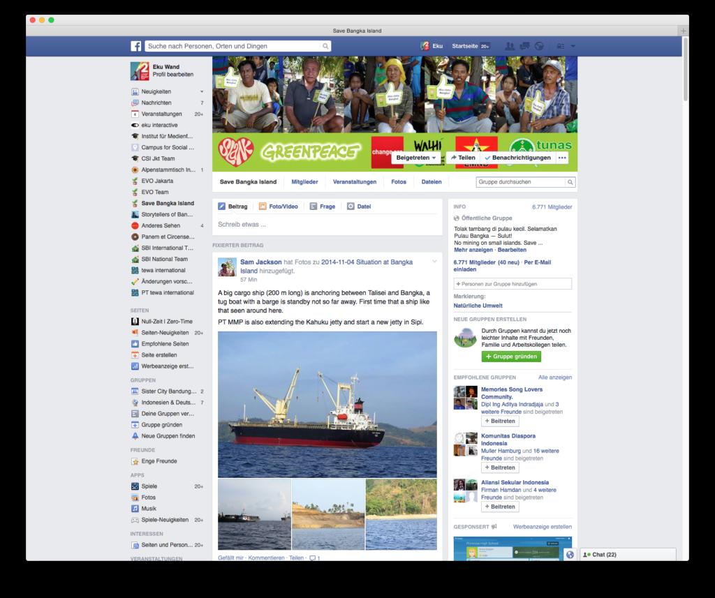 Facebook, nur eine von vielen Kanälen für die #SaveBangkaKampagne