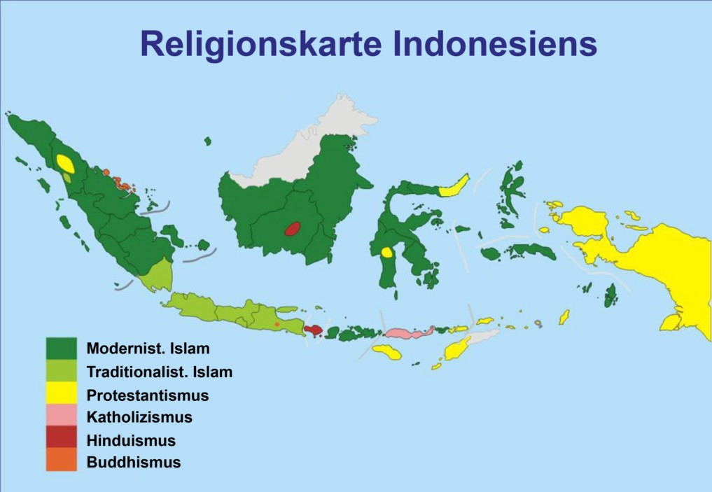 Religion Indonesien Karte