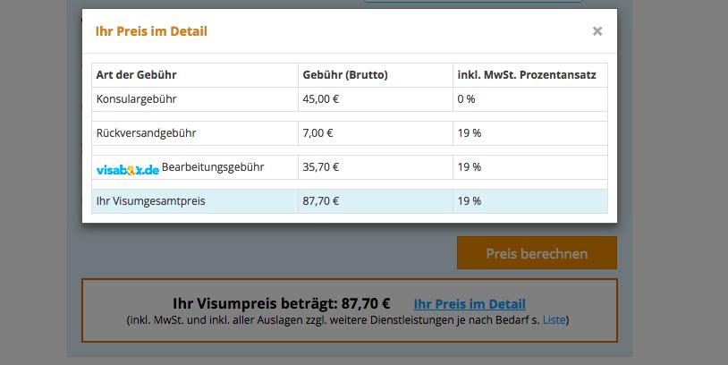 Preise Visabox