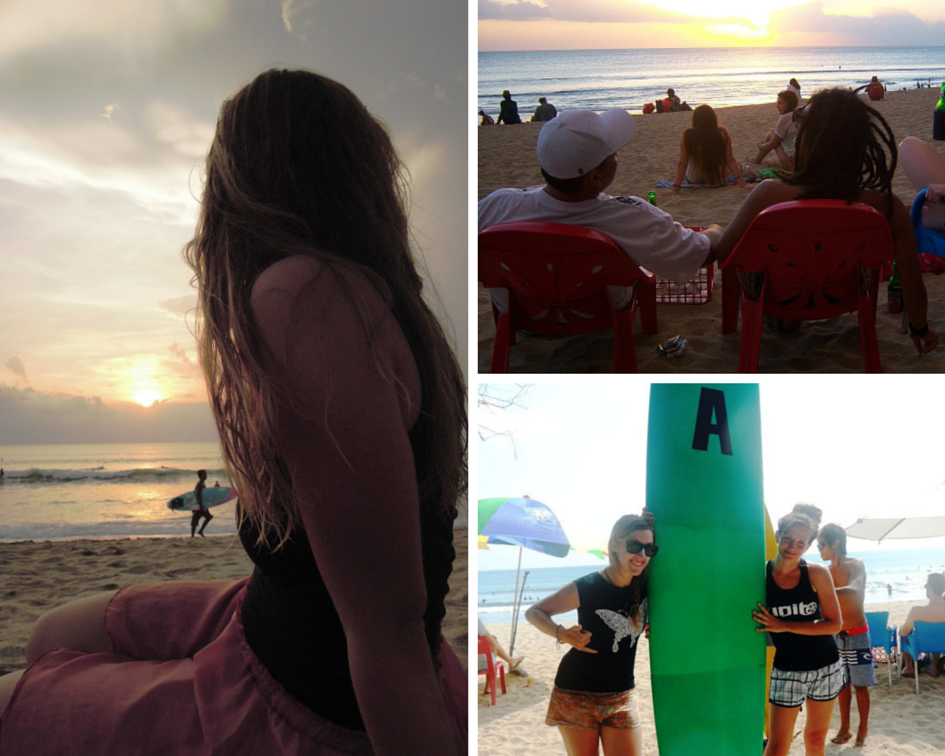 Sonnenuntergang, Bierchen und Surfen am Kuta Beach